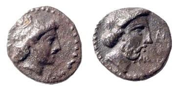 Ancient Coins - Cilicia, Nagidos. Circa 400-380 BC. AR Obol (0.76 gm, 10mm). SNG BN Paris 14