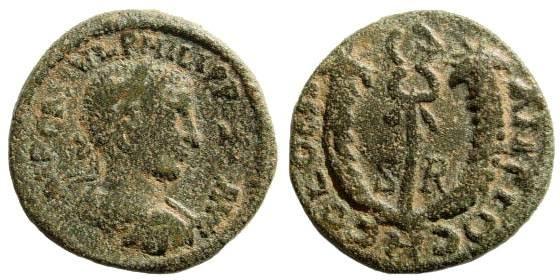 Ancient Coins - Pisidia, Antioch. Philip II Caesar. 244-247 AD. AE 20mm (4.56 gm). SNG PFPS -; SNG France -; Lindgren/ Kovacs -