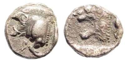 Ancient Coins - Mysia, Kyzikos. Circa 510-475 BC. AR Diobol (1,08 gm, 11mm). SNG France 361-87