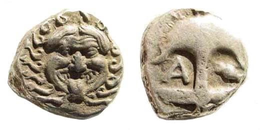 Ancient Coins - Thrace, Apollonia Pontika. Late 5th-4th centuries BC. AR Drachm (3.26 gm, 13mm). SNG BM Black Sea 157