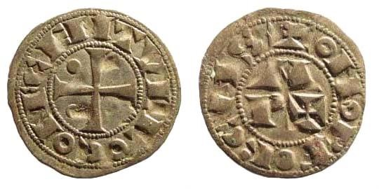 World Coins - France, Béarn. 13th century. AR Obole (0.40 gm, 15mm). Boudeau 526