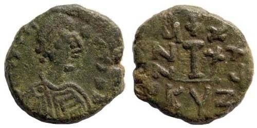 Ancient Coins - Justinian I, 527-565, AE Decanummium (4.40 gm). Cyzicus mint. Sear 209; MIB 123a