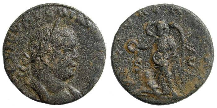"""Ancient Coins - Valerian I. 253-260 AD. AE Sestertius (17.45 gm, 26mm 12h). Rome mint, struck 256-257. Cf RIC 181 (unlisted """"E"""" bust-type)"""