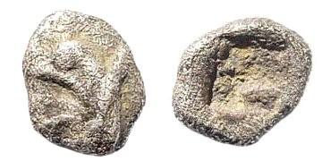 Ancient Coins - Ionia, Teos. Circa 450-425 BC. AR Tetartemorion (0.15 gm, 5mm). SNG Kayan 603