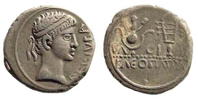 Ancient Coins - Mauretanian Kingdom. Juba II, with Kleopatra Selene. 25 BC- 24 AD. AR Denarius (3.16 gm, 18mm). Caesarea mint. SNG Copenhagen 573