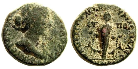 Ancient Coins - Samaria, Neapolis. Faustina Jr, wife of Marcus Aurelius. Augusta 147-175 AD. AE 19mm (6.59 gm, 12h). Dated CY 89 (160/1 AD). SNG ANS 979