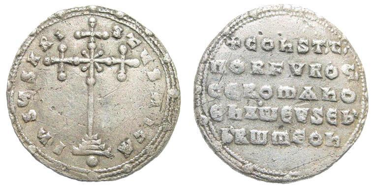 Ancient Coins - Constantine VII, Porphyrogenitus and Romanus II. 913-959. AR Miliaresion (2.93 gm, 23mm). Constantinople. Sear 1757