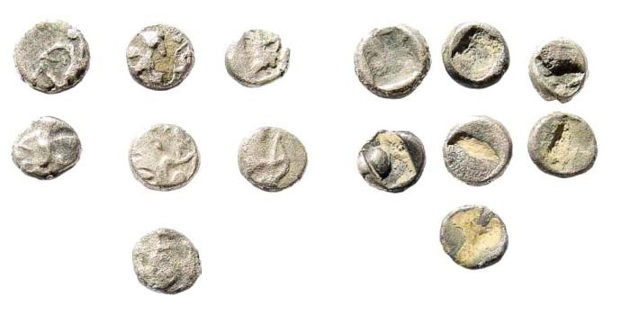 Ancient Coins - Achaemenid Empire. Time of Dareios I, circa 510-486 BC. Group of 7 tiny AR (ca. 0.15 gm, 5mm). Klein 760