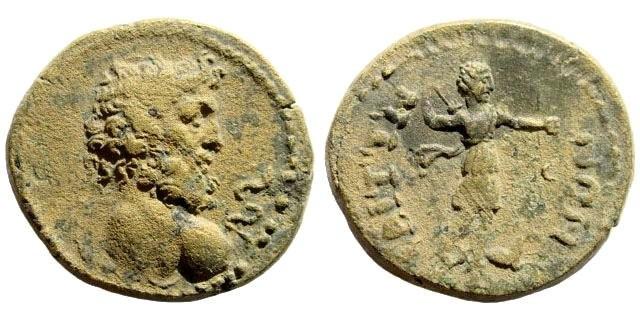 Ancient Coins - Lydia, Saitta. 3rd century AD. AE 20mm (5.87 gm). BMC 13