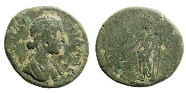 Ancient Coins - Cilicia, Anazarbos. Plautilla, wife of Caracalla, 202-205 AD. AE Trihemiassaria/ 22mm (7.62 gm). Ziegler 299