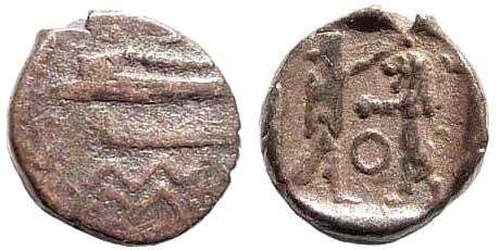 Ancient Coins - Phoenicia, Sidon. Abd'ashtart I, 4th century BC. 1/16th Shekel (0.85 gm, 10mm). BMC 36