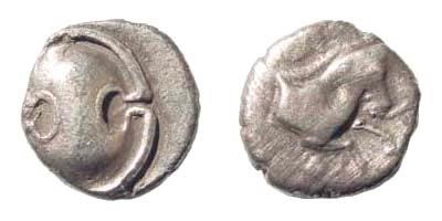 Ancient Coins - Boeotia, Tanagra. Early-mid 4th century BC. AR Obol (0.64 gm, 10mm). SNG Copenhagen 229-30