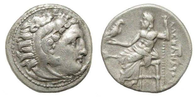 Ancient Coins - Macedonian Kingdom, Alexander III, 336-323 BC, AR Drachm (4.28 gm, 18mm). Colophon mint, 323-319 BC. Price 1823