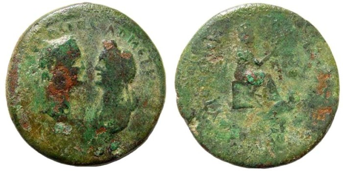 Ancient Coins - Kilikia, Mopsos. Domitian, with Domitia, 81-96 AD. AE 31mm (15.08 gm, 12h). Dated CY 161, 93/4 AD. RPC II 1740 (same dies). Ex Karbach collection. Extremely rare