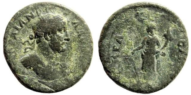Ancient Coins - Lydia, Nakrasa. Hadrian, 117-138 AD. AE 19mm (4.09 gm). BMC 16