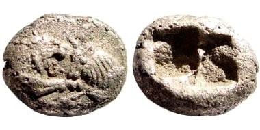 Ancient Coins - Lydia, Sardeis, Kroisos, 561 - 546 BC. AR 1/6 Stater (1.71 gm, 11mm). Rosen 667; SNG Kayhan 1019