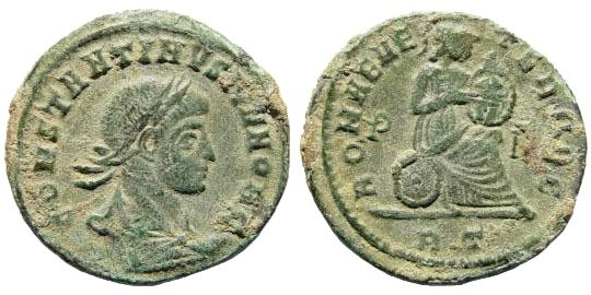 Ancient Coins - Constantine II. 317-340 AD. AE3 (2.44 gm, 19mm).  Rome mint, 318-319 AD. RIC VII, 156