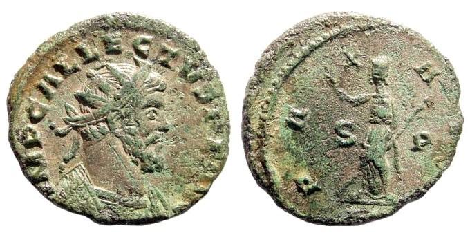 Ancient Coins - Allectus, 294-297 AD. AE Antoninianus (3.7 gm, 23mm). Londinium. Burnett 15; RIC 28