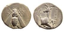 Ancient Coins - Ionia, Ephesos. Circa 390-325 BC. AR Tetradrachm (14.86 gm, 24mm). Menekrates, magistrate. Struck circa 380-370 BC. SNG Copenhagen 229
