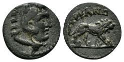 Ancient Coins - Lydia, Hyrcanis. 2nd-3rd centuries AD. AE 12mm (1.17 gm). BMC 9