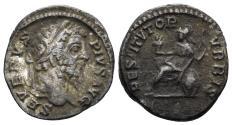 Ancient Coins - Septimius Severus. 193-211 AD. AR Denarius (2.97 gm, 18mm). Rome mint. Struck 201 AD. RIC IV 288 var.