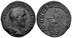 Ancient Coins - Pupienus. 238 AD. AE Sestertius (20.20 gm, 29mm). Rome mint. RIC IV 20