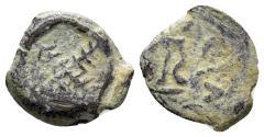 Ancient Coins - Judaea, Herodians. Herod I (the Great). 40-4 BC. AE 1/2 Prutah (1.21 gm, 14mm). Jerusalem mint. Struck circa 27-24 BC. Meshorer 55