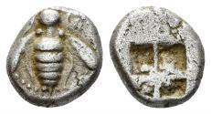 Ancient Coins - Ionia, Ephesos. Circa 520-500. AR Diobol (1.08 gm, 9mm). SNG Kayhan 124