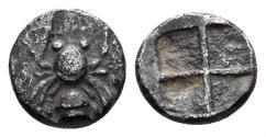 Ancient Coins - Ionia, Ephesos. Circa 500-420 BC. AR Obol (0.55 gm, 7.5mm). Karwiese Series V, 2a