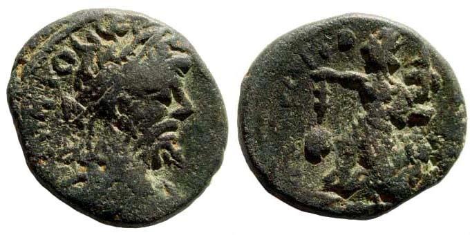 Ancient Coins - Syria, Coele-Syria. Damascus. Septimius Severus. 193-211 AD. AE 16mm (6.84 gm). Rosenberger 21