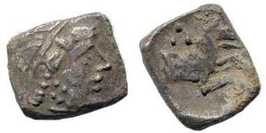 Ancient Coins - Cilicia uncertain, 4th century BC, AR Obol (0.66 gm). Klein 652; SNG von Aulock 8656; SNG Copenhagen 319