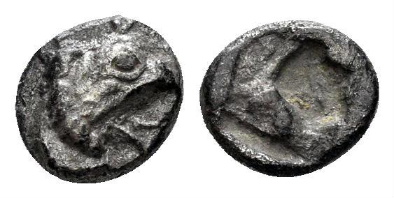 Ancient Coins - Ionia, Teos. Circa 475-450 BC. AR Tetartemorion (0.34 gm, 6.5mm). SNG Kayan 602