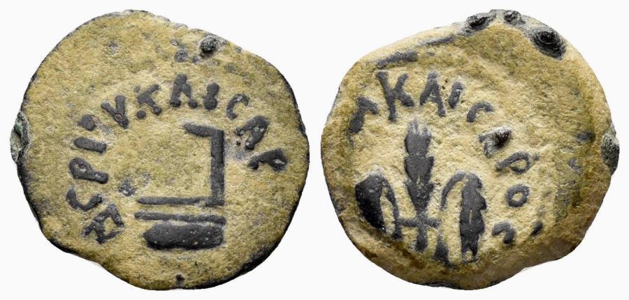 Ancient Coins - Judaea, Procurators. Pontius Pilate, 26-36 AD. AE Prutah (2.45 gm, 16mm). Jerusalem mint. Dated RY 16 of Tiberius (29 AD). Hendin 648