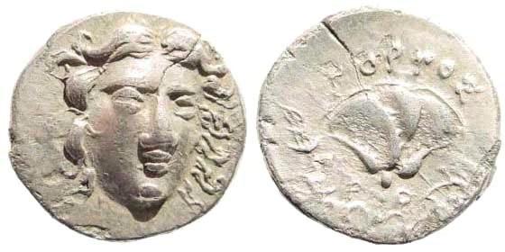 Ancient Coins - Karia, Islands off. Rhodes. Circa 205-190 BC. AR Drachm (2.82 g, 12h). Gorgos, magistrate. Ashton 288; SNG Copenhagen 783