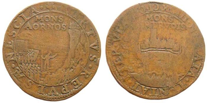 Ancient Coins - The Dutch Republic. Dordrecht, 1593. AE Jeton/ Rekenpennig (5.52 gm, 29mm). Mitchiner 2487; Dugniolle 3324. Dutch recapture of Gertruidenberg