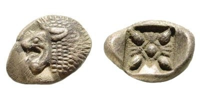Ancient Coins - Ionia, Miletos. Late 6th-early 4th century BC. AR 1/12th Stater (1.09 gm. 12mm). SNG Helsinki II, 264