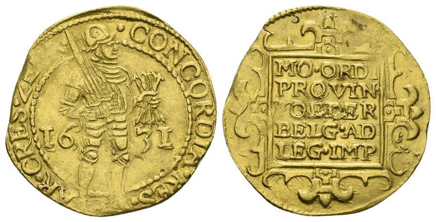 World Coins - Republiek der Zeven Verenigde Nederlanden (Dutch Republic). 1581-1795. AV Ducat (3.48 gm, 21mm,). Utrecht mint. Dated 1631. Friedberg 284