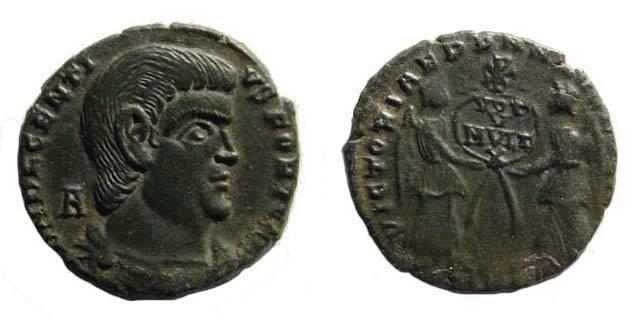 Ancient Coins - Decentius, 351-353 AD, AE 2 (4.08 gm.) Treveri mint. RIC 316, rare. Very fine, great portrait