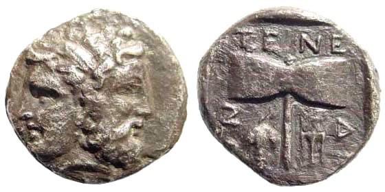 Ancient Coins - Troas, Islands off. Tenedos. Circa 450-387 BC. AR Drachm (3.03 gm, 15mm, 12h). SNG Copenhagen 516