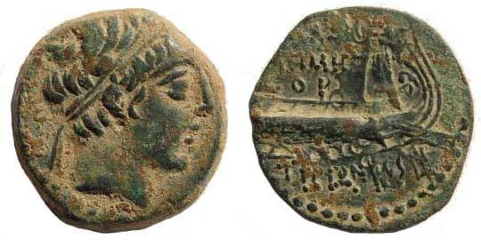 Ancient Coins - Seleucid Kings, Demetrius II, 145-138 BC, AE 19 (5.40 gm., 19.3 mm). Tyre mint, year 143/2 BC. SNG Spear 1722