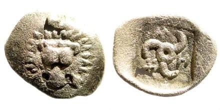 Ancient Coins - Lycia, Dynasts of. Trbbenimi at Zemu. Circa 380-370 BC. AR Hemiobol (0.33 gm, 10mm). Unpublished denomination
