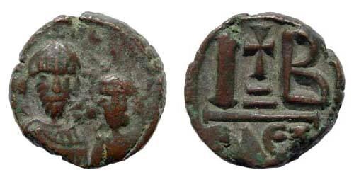 Ancient Coins - Heraclius, 610-641 AD, AE 12 Nummi (5.48 gm, 17.28 mm). Sear 853; DO 189
