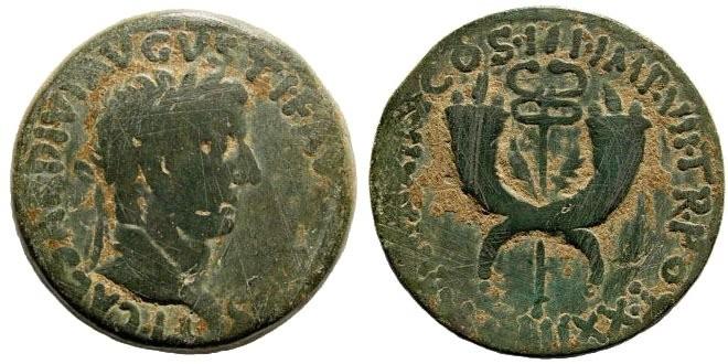 Ancient Coins - Syria, Commagene. Tiberius. 14-37 AD. AE Dupondius (14.89 gm, 29mm). Struck 19-21 AD. RPC 3869; RIC I 90