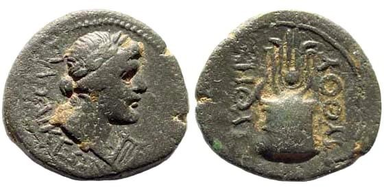 Ancient Coins - Phrygia, Laodikeia. Time of Tiberius (?), 14-37 AD. AE 16mm (2.45 gm). Pythes Pythou. RPC 2903; BMC 61; SNG Copenhagen 510
