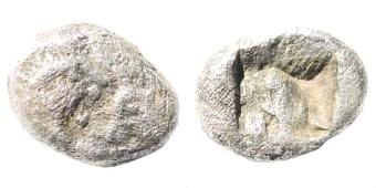 Ancient Coins - Achaemenid Empire.  Time of Darios I. Circa 520/15-500/490 BC. AR 1/12 Siglos (0.79 gm, 9mm). Kroiseid type. SNG Kayhan 1020; SNG von Aulock 2880