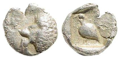 Ancient Coins - Ionia, Miletus. 5th century BC. AR 1/48 Stater (0.23 gm, 7mm). SNG Helsinki I, 927