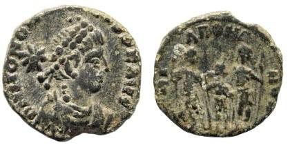 Ancient Coins - Honorius. 393-423 AD. AE 14mm (1.57 gm). Alexandria (?) ca. 395-408 AD. RIC 157; LRBC 2924