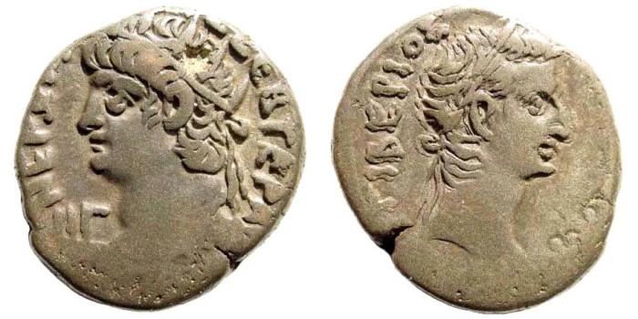 Ancient Coins - Egypt, Alexandria. Nero, with Tiberius. 54-68 AD. BI Tetradrachm (12.79 gm, 25mm). Dated RY 13 (66/7 AD). RPC I 5295; Köln 187; Dattari 185; Milne 256; Emmett 134