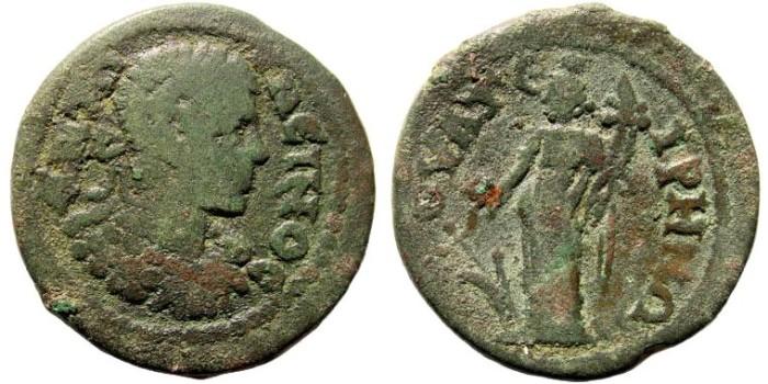 Ancient Coins - Lydia, Thyateira. Caracalla, 198-217 AD. AE 25mm (8.69 gm). BMC 104 (same dies)