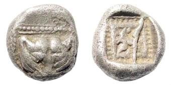 Ancient Coins - Ionia, Miletos. Circa 550-525 BC. AR 1/16 Stater (0.84 gm, 8mm). Klein, Sammlung von Griechischen Kleinsilbermünzen und Bronzen, 421; Rosen 579. Rare